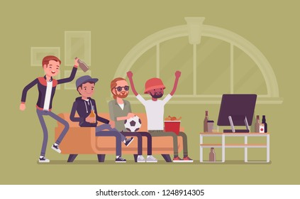 Men gathering at home, assembly or friends meeting. Group of football fanatics sitting on coach watching TV match, guys enjoy drinking and male entertainment. Vector flat style cartoon illustration