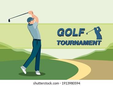 Men Golf Player Hitting the Ball