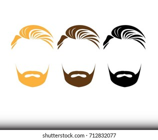 Men Hairstyles Beard And Hair icon. - Illustration Men, Hairstyle, Human Face, Facial Mask - Beauty Product, Human Hair, Barber shop logo