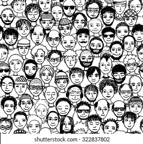 Men - hand drawn seamless pattern of a crowd of different men from diverse ethnic backgrounds