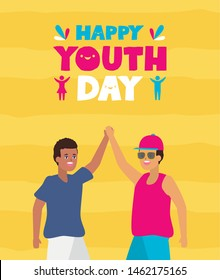 men handshake happy youth day flat design vector illustration