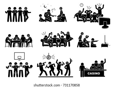 Men hanging out with a group of best friends together. The friendship is good and happy. They are playing guitar, watching tv, drinking beers, playing video games, basketball, dancing, and gambling.