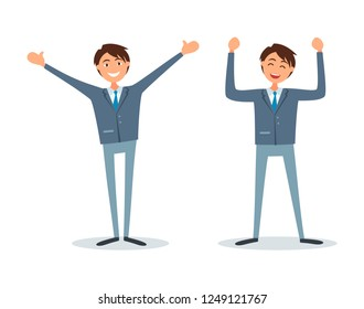 Men happy because of success, successful bosses, flat style vector. Chief executive ceo workers having good mood. Entrepreneurs with broad smile on face