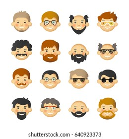 Men head avatar iconset with beards, mustaches, glasses and rosy cheeks