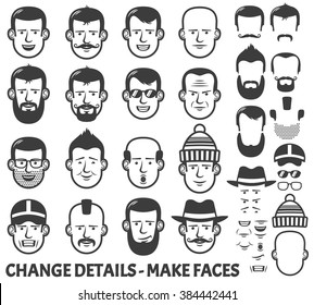 Men head and face constructor. All parts separately - just ungroup them, change the places and have new faces!