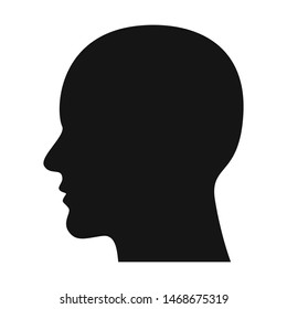 Men head silhouette, Male profile. Bald Human shaved skull Black vector illustration isolated on white background