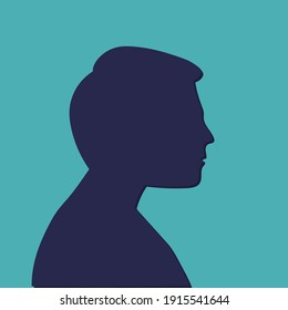 Men head silhouette, Male profile. Bald Human shaved skull Black vector illustration isolated on blue background
