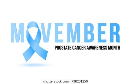 Men health man prostate cancer awareness month poster. Vector blue ribbon for no shave Movember social solidarity event against prostate cancer or man healthcare banner design