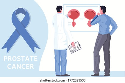 Men healthcare flat background with prostate  cancer awareness blue ribbon doctor and patient considering infographics poster vector illustration