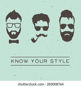 Men hipsters styles concept with vintage design. Vector illustration