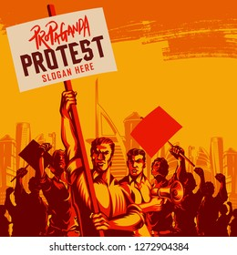 Men Holding a Blank Placard and megaphone with Large Crowd of People with Their Hands Raised in the Air vector illustration. Political protest activism patriotism. Revolution raising The Flag.