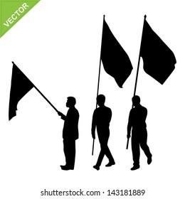 Men holding flag silhouettes vector
