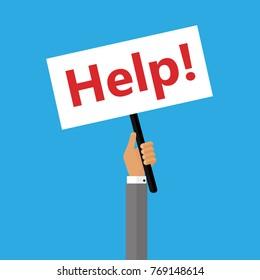 Men holding redsignboards help. vector icon illustration flat design