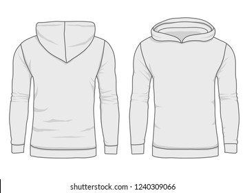 Men hoody fashion, sweatshirt template. Realistic outerwear clothes mockup front and back view. Long sleeve hoody template on white background. Sport and urban style. Vector