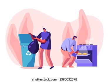 Men at Household Activities. Male Characters Cleaning Home. Cooking Bakes in Oven, Throw Garbage into Recycling Container. Housekeeping Management of Duties and Chores Cartoon Flat Vector Illustration