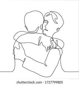 men hug. Close friends hug tightly and cordially. Intimate hug, tactile support, physical closeness, family relationships, love hug, concept of acceptance, psychological assistance, social approval