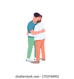 Men hugging flat color vector faceless characters. Gay couple in romantic relationship. Man embrace friend. Family relationship isolated cartoon illustration for web graphic design and animation