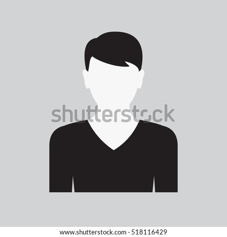 Men icon. Male web sign, flat art object. Black and white Silhouette of guy. Avatar picture app. Vector illustration