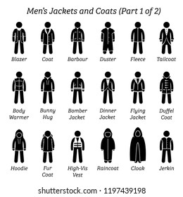 Men jackets and coats. Stick figures depict a set of different types of jackets and coats clothes. This fashion clothings design are wear by men or male. Part 1 of 2.