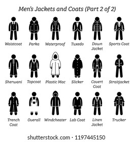 Men jackets and coats. Stick figures depict a set of different types of jackets and coats clothes. This fashion clothings design are wear by men or male. Part 2 of 2.