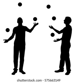 men juggling balls isolated
