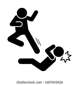 Men kick flying icon. Simple pictogram of fighting icons for ui and ux, website or mobile application