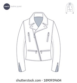 Men leather jacket. Clothes icons, thin line style. Retail online store catalog sections signs and objects. Vector collection.