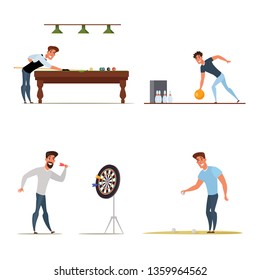 Men leisure time flat characters set. Male outdoor activities and sports. Billiards, pool, bowling, darts, petanque cartoon players. Entertainment center banner, poster, flyer design elements