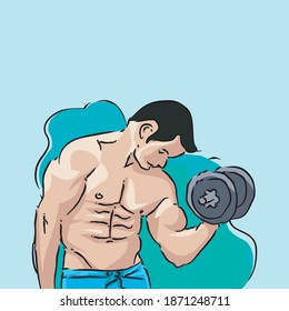 men lift the barbell with a stocky body, men gym vector illustration