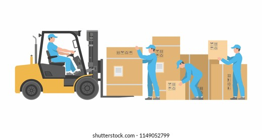 Men loading boxes on forklift. Delivery service. flat style. isolated on white background