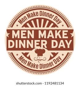 Men Make Dinner Day, rubber stamp, vector Illustration