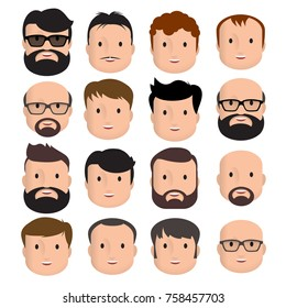 Men Male Human Face Head Hair Hairstyle Mustache Bald People Fashion. Design flat avatar for social media. Vector illustration.