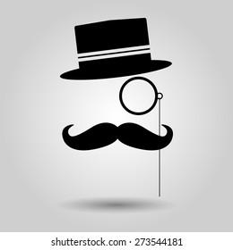 men moustache, glasses and hat. Vector