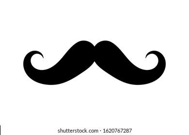 Men Mustache black silhouette. Vector illustration