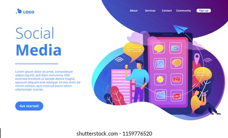 Men near huge smartphone with application icons on the screen checking social media and news feeds. Social media landing page. News tips, IoT and smart city. Violet palette. Vector illustration.