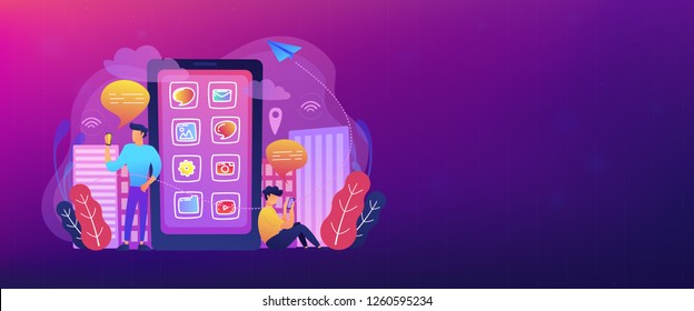 Men near huge smartphone with application icons on the screen checking social media and news feeds. Social media and news tips landing page. Header or footer banner template.