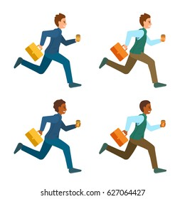Men in office suits, work clothes running with suitcase and coffee. Managers hurry to the work. Business people in hurry, jogging and smiling. Vector cartoon illustration isolated on white.