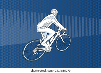 Men on bicycle over abstract background