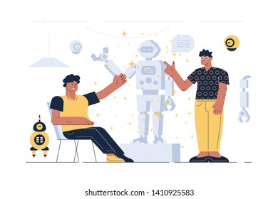 Men on robot presentation vector illustration. Guys in casual clothes presenting together latest novelty in robotic technologies flat style design. Artificial intelligence of future concept