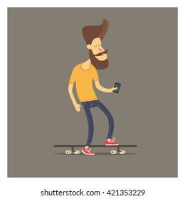 Men on skateboard. Hipster with phone on longboard.Happy young man skateboarding. Hipster on longboard. Hipster with phone. Cartoon style. Character design. Skateboarder doing selfie.  .