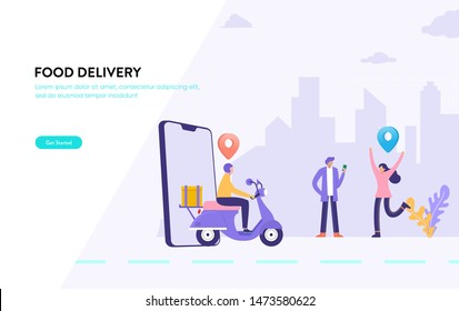 men order food via smartphone, online food delivery service vector illustration concept, happy woman waiting her package can use for, landing page, template, ui, web, mobile app, poster, banner, flyer