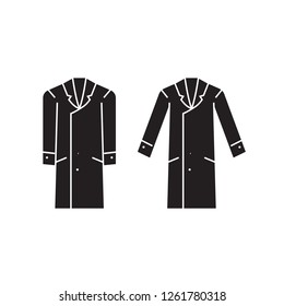 Men overcoat black vector concept icon. Men overcoat flat illustration, sign
