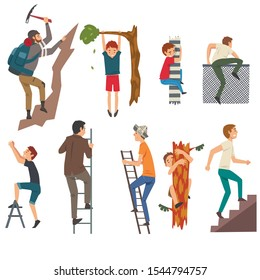Men Overcoming Obstacles Set, Male Characters Climbing Up the Step Ladder, Tree, Pole, Fence, Rock Mountain Vector Illustration