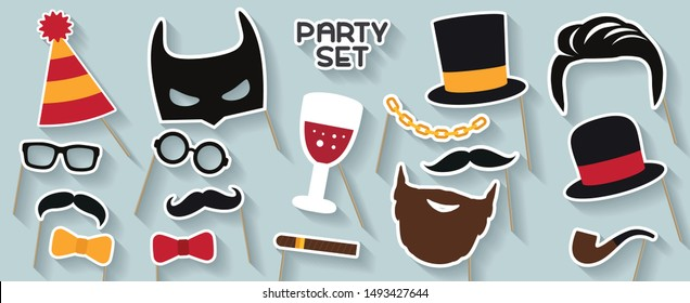 Men party set. Cardboard carnival mask. Includes hat, mustache, glasses, tobacco pipe, beard, cigar, wine, bow, capand bow tie. Masks for a photo shoot. Photo booth elements.