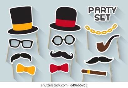 Men party set. Cardboard carnival mask. Includes hat, mustache, glasses, tobacco pipe and bow tie. Masks for a photo shoot. Photo booth elements.