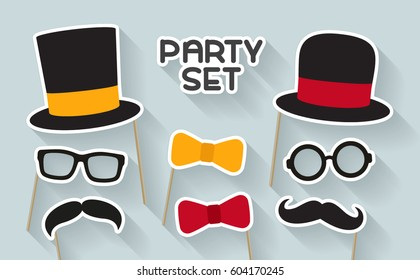 Men party set. Concept with cardboard carnival mask. Includes hat, mustache and bow tie. Masks for a photo shoot.