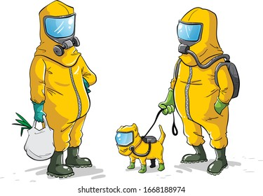 Men and pet in bio hazard suits going about their business