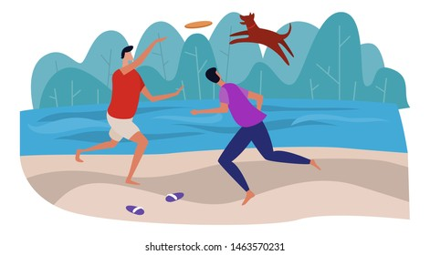 Men are playing frisbee with the dog on the beach near the sea. Having fun and active resting together outside. Flat cartoon vector illustration.