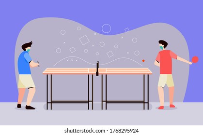 men playing ping pong or table tennis. exercise increases body immunity. covid prevention 19. modern vector flat illustration design concept