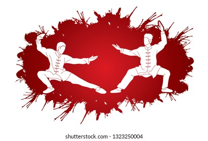 Men pose ready to fight Kung Fu action cartoon graphic vector.